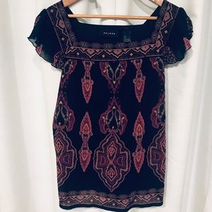 Axcess black and red blouse Aztec print size L